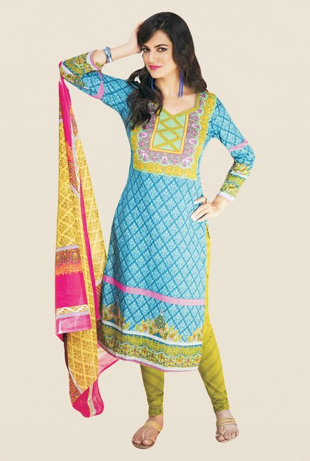 Salwar Studio Blue & Green Printed Cotton Dress Material