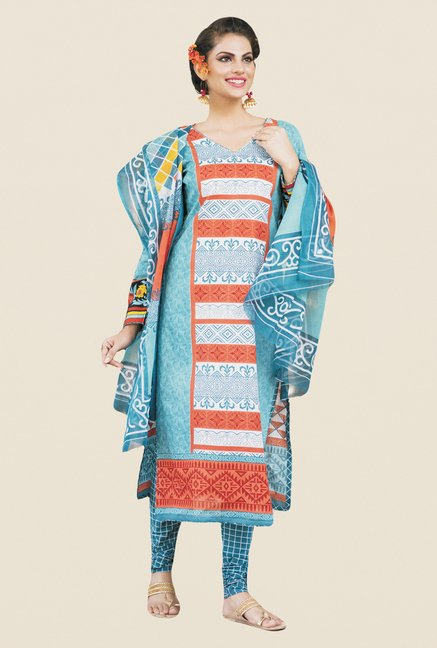 Salwar Studio Light Blue & Orange Printed Dress Material