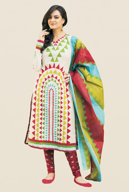 Salwar Studio Multicolor & Maroon Printed Dress Material