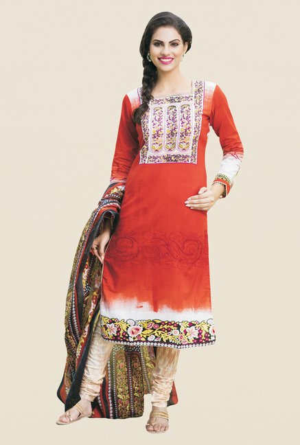 Salwar Studio Orange & Cream Printed Dress Material