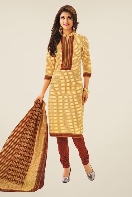Salwar Studio Beige & Brown Checks Cotton Dress Material