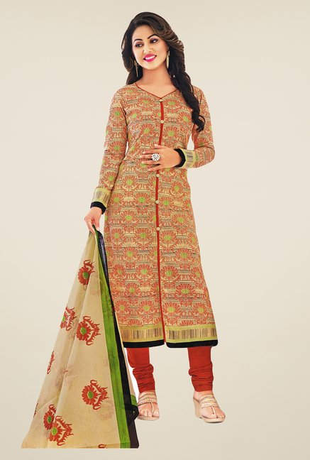 Salwar Studio Brown Printed Dress Material