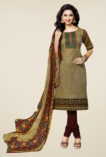 Salwar Studio Mehndi & Brown Printed Dress Material