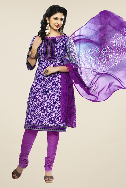 Salwar Studio Purple Printed Cotton Dress Material