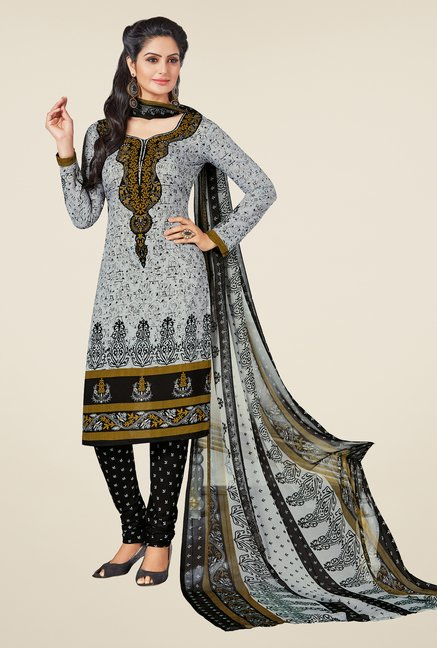 Salwar Studio Grey & Black Printed Free Size Dress Material