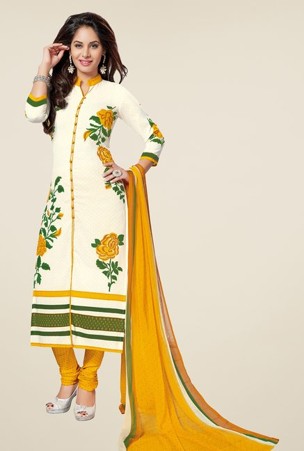 Salwar Studio Off White & Yellow Printed Dress Material