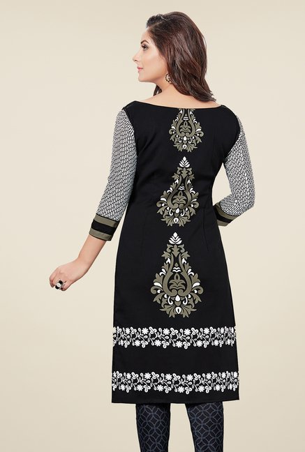 Salwar Studio Black & White Printed Dress Material