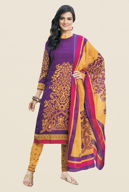 Salwar Studio Violet & Mustard Printed Dress Material