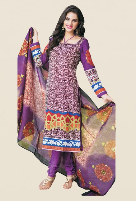 Salwar Studio Violet Printed Dress Material
