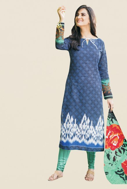 Salwar Studio Blue & Sea Green Printed Dress Material