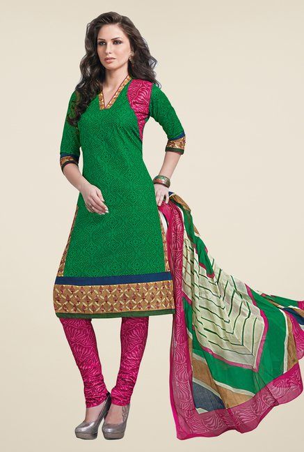Salwar Studio Green & Pink Linen Cotton Dress Material