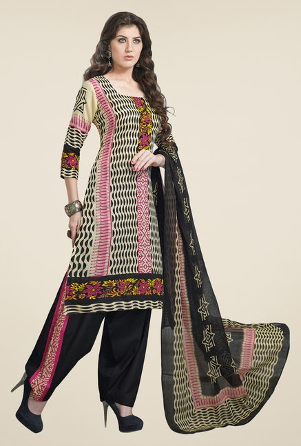 Salwar Studio Multicolor & Black Linen Cotton Dress Material