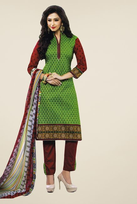 Salwar Studio Green & Brown Printed Free Size Dress Material