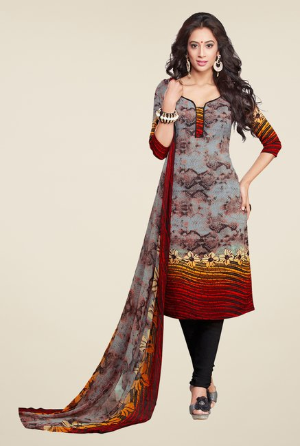 Salwar Studio Grey & Black Printed Synthetic Dress Material