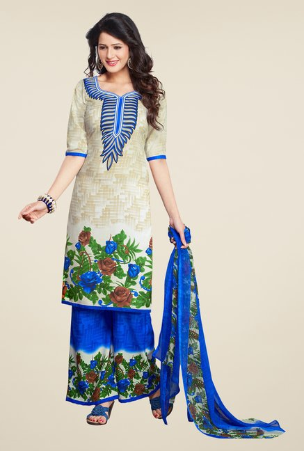 Salwar Studio Off White & Blue Printed Dress Material
