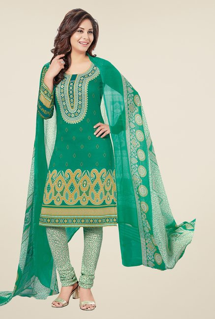 Salwar Studio Sea Green & Beige Printed Dress Material