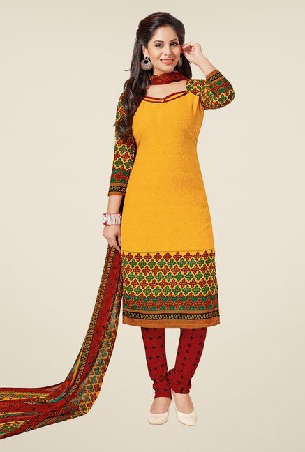 Salwar Studio Yellow & Red Printed Dress Material