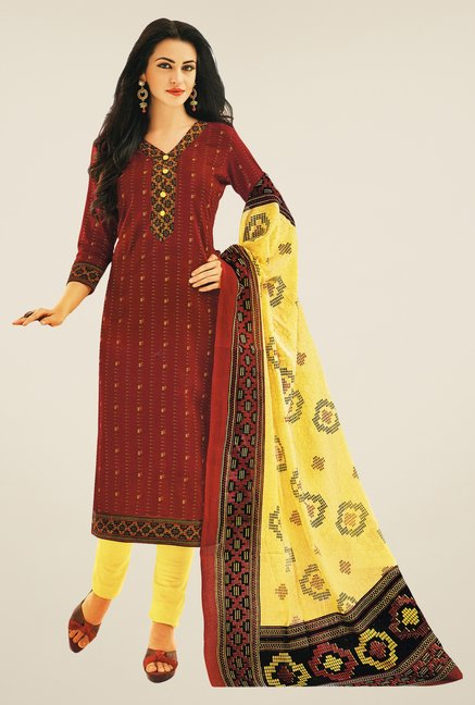 Salwar Studio Maroon & Yellow Printed Dress Material