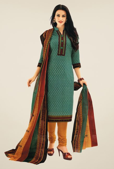 Salwar Studio Teal & Mustard Printed Dress Material