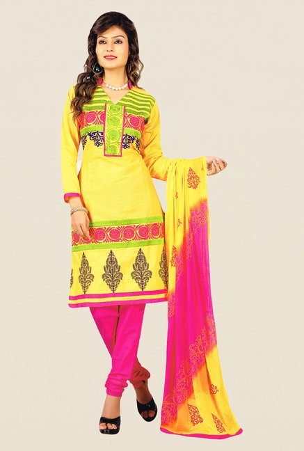 Salwar Studio Yellow & Pink Free Size Dress Material