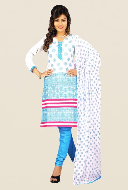 Salwar Studio White & Sky Blue Cotton Dress Material
