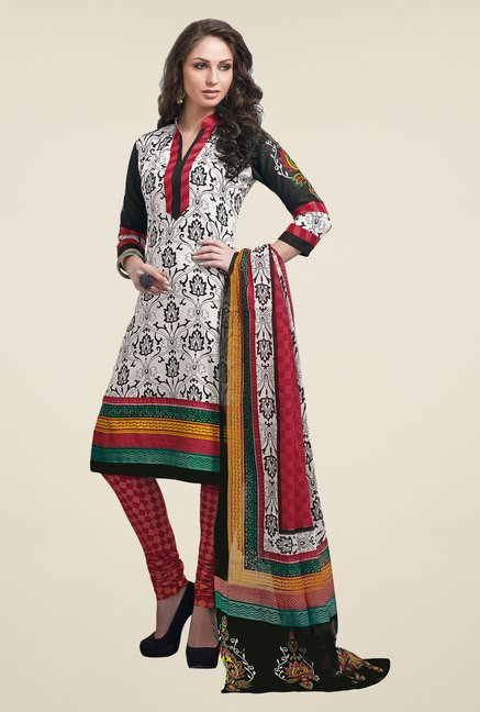 Salwar Studio White & Red Dress Material