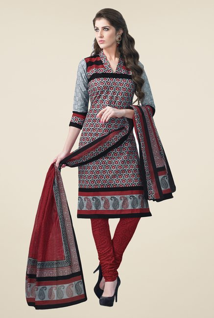 Salwar Studio Grey & Maroon Dress Material