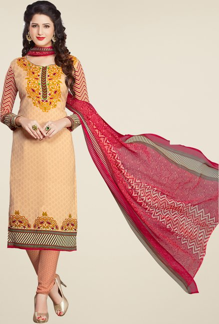 Salwar Studio Beige & Red Printed Synthetic Dress Material