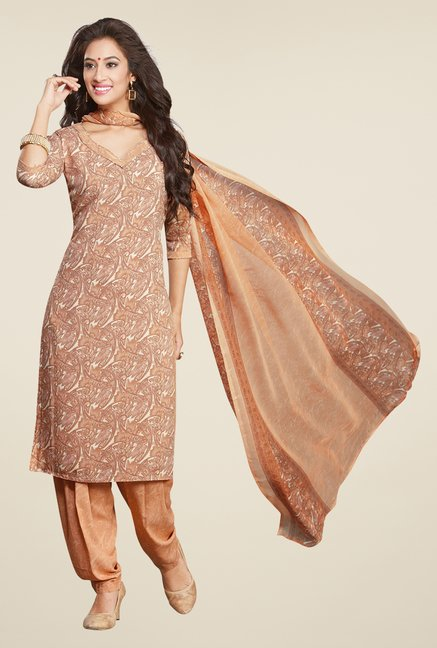 Salwar Studio Beige & White Printed Dress Material
