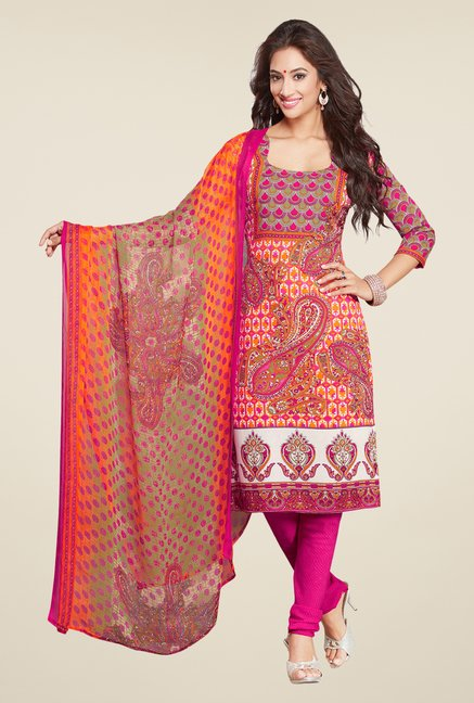 Salwar Studio Orange & Pink Printed Synthetic Dress Material