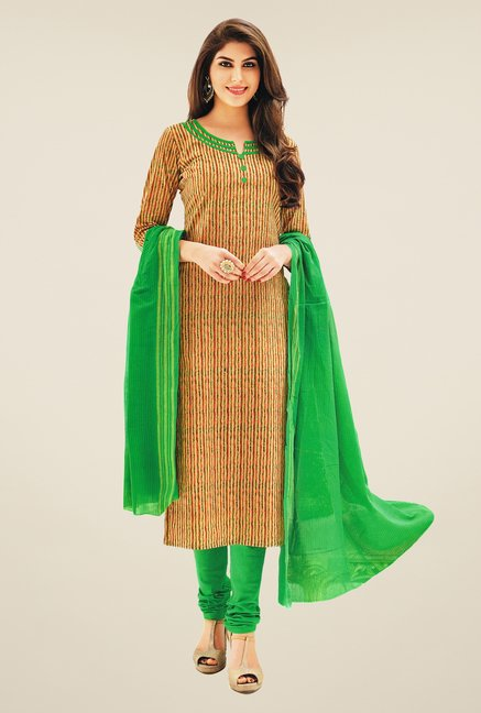 Salwar Studio Beige & Green Striped Dress Material