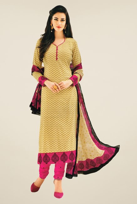 Salwar Studio Beige & Pink Printed Dress Material