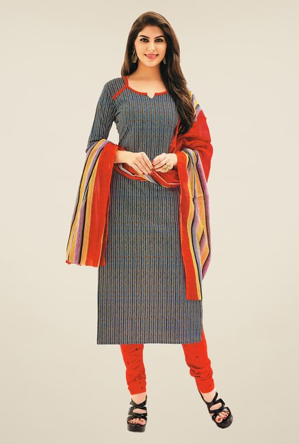 Salwar Studio Grey & Red Striped Dress Material