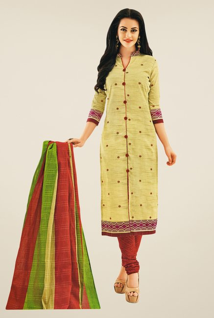 Salwar Studio Beige & Maroon Printed Dress Material