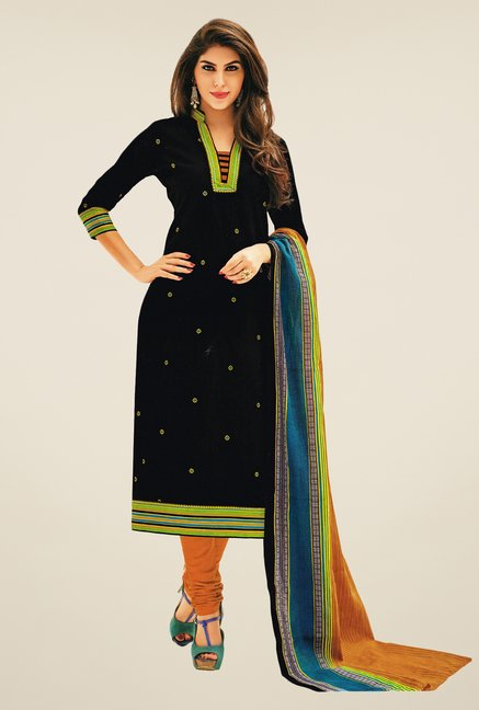 Salwar Studio Black & Mustard Printed Dress Material