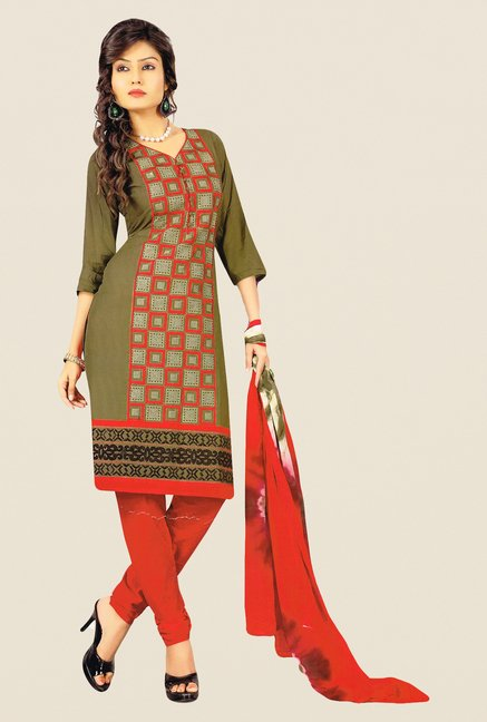 Salwar Studio Mehndi & Red Embroidered Dress Material