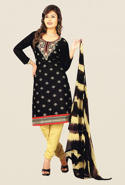 Salwar Studio Black & Beige Cotton PC Dress Material