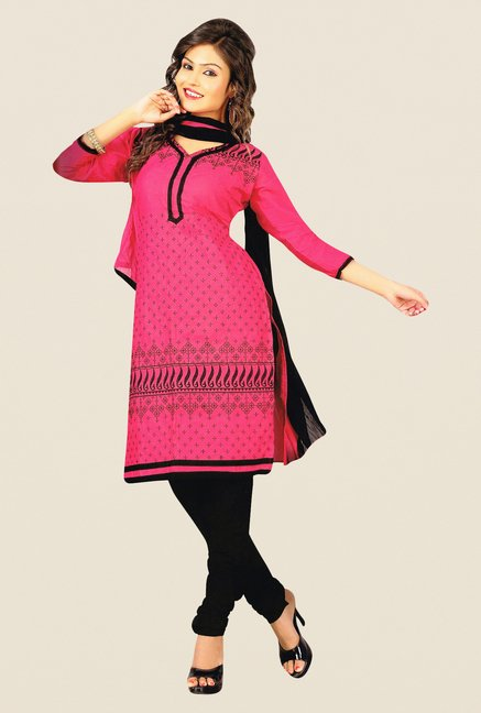 Salwar Studio Pink & Black Cotton PC Dress Material