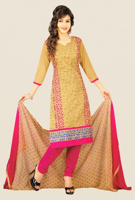 Salwar Studio Beige & Pink Embroidered Cotton Dress Material