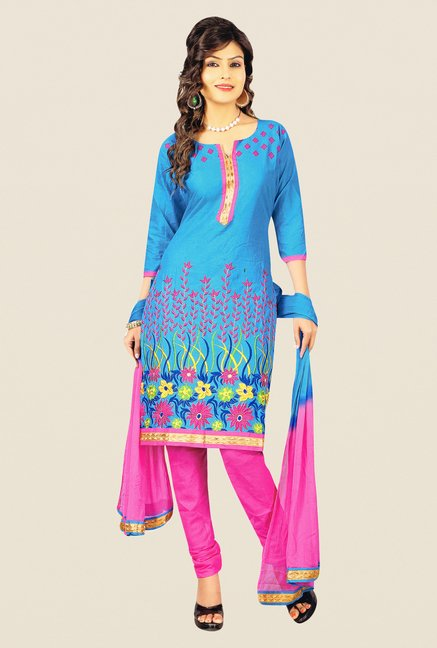 Salwar Studio Sky Blue & Pink Embroidered Dress Material