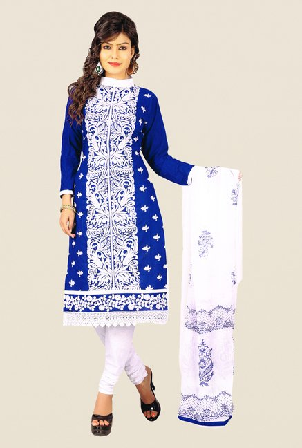 Salwar Studio Blue & White Polyblend Dress Material