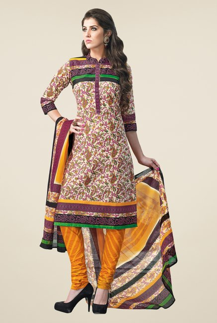 Salwar Studio Beige & Yellow Dress Material