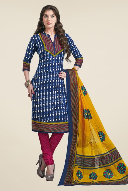Salwar Studio Dark Blue & Pink Dress Material