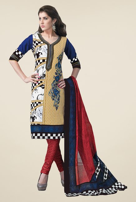 Salwar Studio Multicolor & Red Dress Material