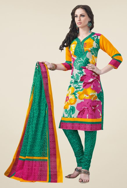 Salwar Studio Multicolor & Teal Dress Material