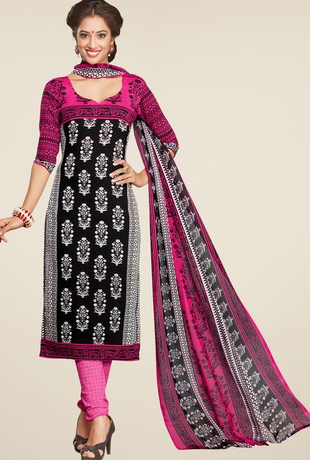 Salwar Studio Black & Rani Printed Dress Material