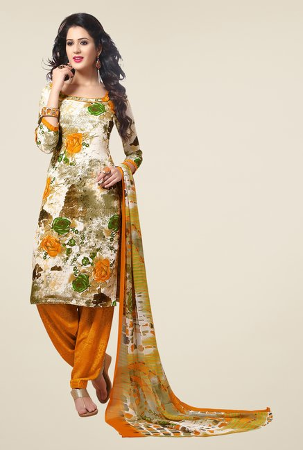 Salwar Studio Orange & Green Synthetic Dress Material