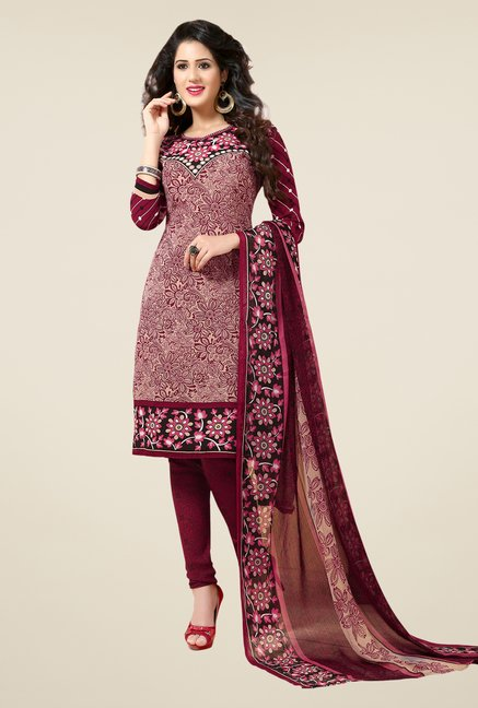 Salwar Studio Wine & Beige Printed Dress Material