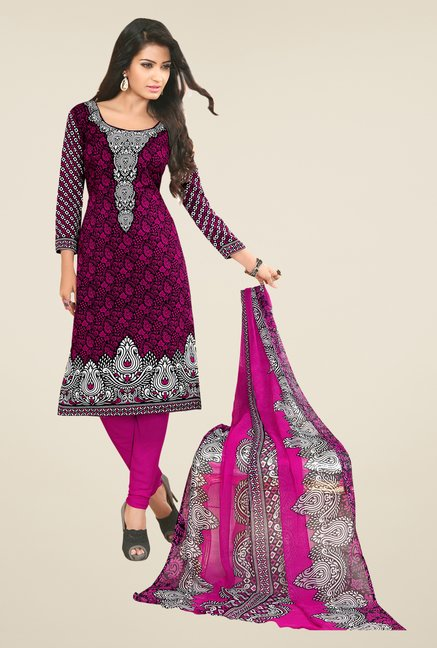 Salwar Studio Rani & Black Printed Dress Material