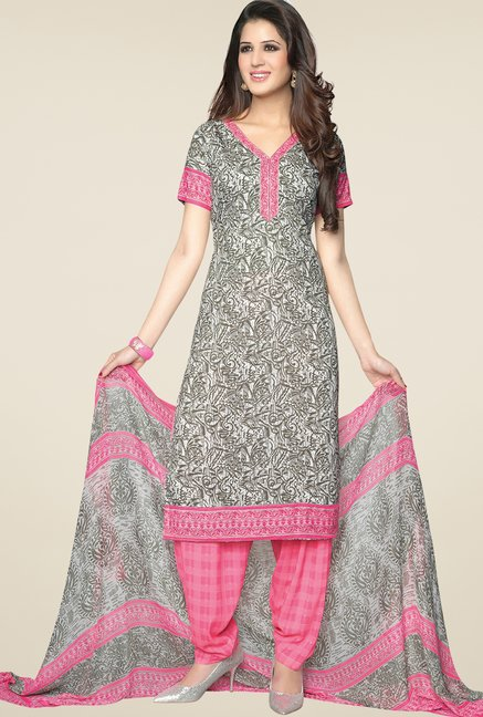 Salwar Studio Light Pink & Grey Printed Dress Material